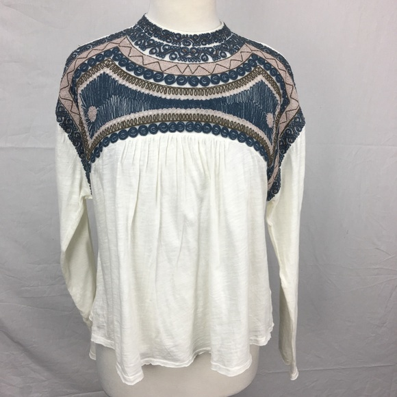 Free People Tops - Free People Ivory Snow Bunny Embroidered Boho Top